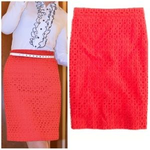 J Crew Red Eyelet Pencil Skirt Size 0